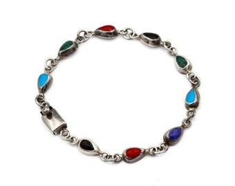 Colorful teardrop bracelet, Multi stone link bracelet, 925 Mexico Bracelet, Everyday womens jewelry, multi color bracelet, dainty bracelet