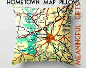 Custom Map Pillow Cover, Farmhouse Pillow, Fixer Upper Pillow, Farmhouse Decor, Map Throw Pillow, Dad Gifts, Unique Gifts for Men, Hometown