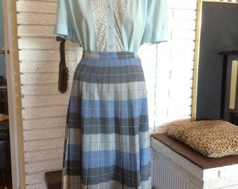 Cool Wool Pleat Plaid 1950's Skirt!!!