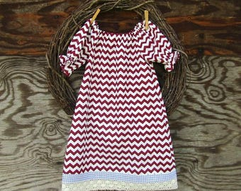 Girls Maroon dress, Girls Chevron Dress, Kids Lace Dress, Girls Burgundy Dress