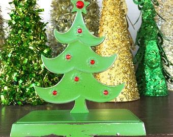 Whimsy Tree Stocking Holder, Embellished Green Metal Stocking Hanger, Christmas Holiday Mantel