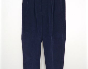 Tommy Hilfiger Corduroy Pants / vintage navy blue pleated trousers / men's 30/32