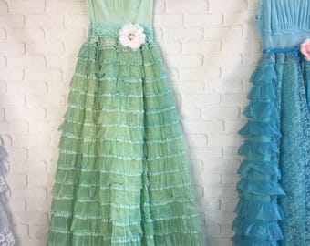 soft grass green tiered lace chiffon boho wedding dress by mermaid miss Kristin