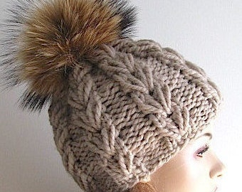 Chunky Wool Beanie with Raccoon Fur PomPom Oatmeal Light Taupe Cap Skull Hat fall winter Hand Made Accessory