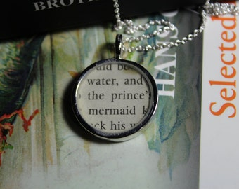 The Little Mermaid Book Page Pendant Necklace - Brother's Grimm Fairy Tale Jewelry