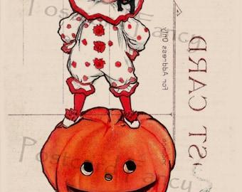 Halloween Pumpkin Vintage Postcard Misprint, INSTANT Digital Download, Printable Digital Paper, Scrapbook