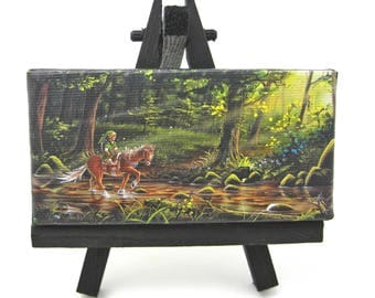 2x4 Legend of Zelda, Link and Epona, Mini Fridge or Easel Painting by J. Mandrick