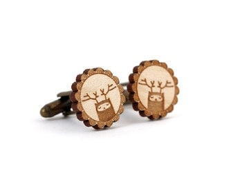 Reindeer cufflinks - deer cufflinks - stag - elk - woodland creature fantasy wedding accessory - lasercut maple wood - groom bestman man dad