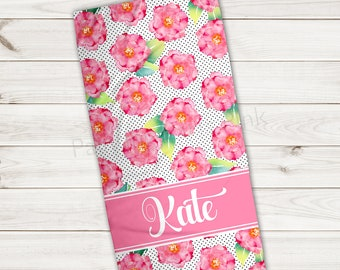 Beach Towel | Modern Floral Personalized | Extra Large 30x60 | Ultra-Soft Microfiber Velour | Summer | Gift | Bridesmaid Gift
