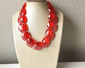 Red Necklace, multi strand jewelry, big beaded chunky statement necklace, red jewelry, bridesmaid necklace, bib necklace