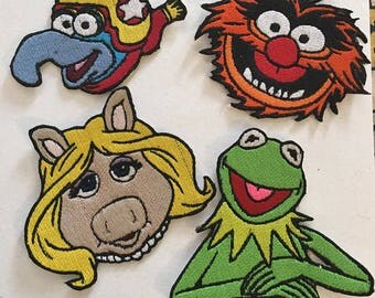 Iron On Patch Disney Inspired Fan Art The Muppets; Miss Piggy, Kermit, Animal and Gonzo(4 design options)