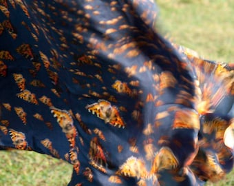 Square digitally printed silk scarf with  butterfly print indigo and orange