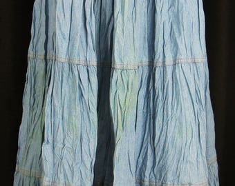 Vtg 60s–70s ~ON THE VERGE~ Stonewash Blue Cotton Boho/Hippie Broom Maxi Skirt  L