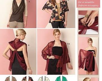 UNCUT Simplicity 1588 Kimono Jacket, Wrap Top, Belt, Scarf Size XS-XXL