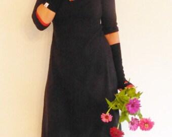 3/4-sleeve, form A, Empire dress black, warm,