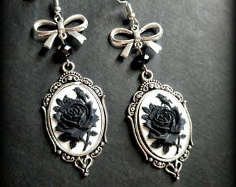 Gothic black rose cameo dangle earrings.