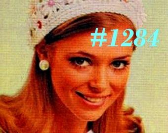 A Best Vintage 1970s Mod Daisy-Strewn Juliet Cap #1284 PDF Digital Crochet Pattern