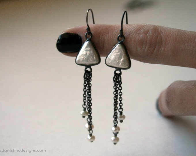 Pearl Triangle Silver Dangle Earrings