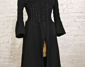 80s Marithé François Girbaud Black Wool Corset Coat - Rare and Collectible Piece