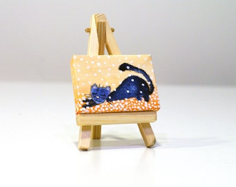 Cat miniature painting Original painting on canvas Mini canvas painting Cute tiny art Funny cat art Blue cat painting Small painting