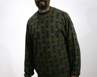 90s Olive Green Italian Sweater L, Men's Fashion Sweater, Vintage Italian Pullover, Green Wool Sweater, Coogi Style Euro Sweater, Large