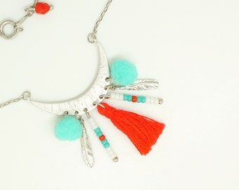 Silver Crescent Moon Necklace - Red Tassel Necklace - Turquoise Pom Pom Necklace - Ethnic Feather Necklace - Long Bohemian Necklace