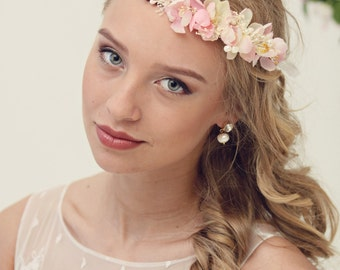 Blush Pink Flower Girl Crowns, Bridal Flower Crowns, Wedding Flower Crown, Ivory Hair Wreath, Bridal Hair Accessories, Girls Flower Crown