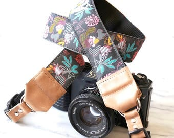 The Julia Grey Floral Designer DSLR Camera Strap with Quick Release Buckles -- 1.5 inches wide