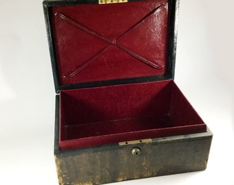 Antique leather covered jewellery stationery box, Burgundy leather, Bramah London, Distressed brown leather casket, Travel case, Deed box