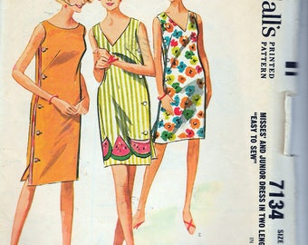 """Vintage 1963 McCall's 7134 Side Buttoned Dress in Two Lengths Sewing Pattern Size Medium 12-13-14 Bust 32""""-33""""-34"""""""