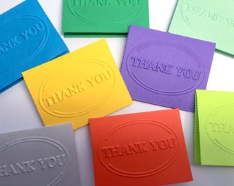 50 Mini Thank you cards, tent style, Thank you notes, Mixed colors, Colorful thank you cards, Hand stamped - Wcards