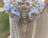 CUSTOM ORDER- BALANCE for a Custom Cascading Brooch Bouquet in Bright White and Silver with touches of Ice Blue and silver handle