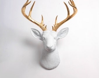 Deer Head Wall Mount, XL Alfred White & Gold Decor