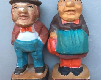 Figurines Man Woman Husband Wife Made in Occupied Japan Hat Bowler Kerchief Bowtie Apron White Shirt Purse Bisque Square Base 3 Inch Tall