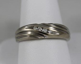 14K White Gold Angled Diamond Band
