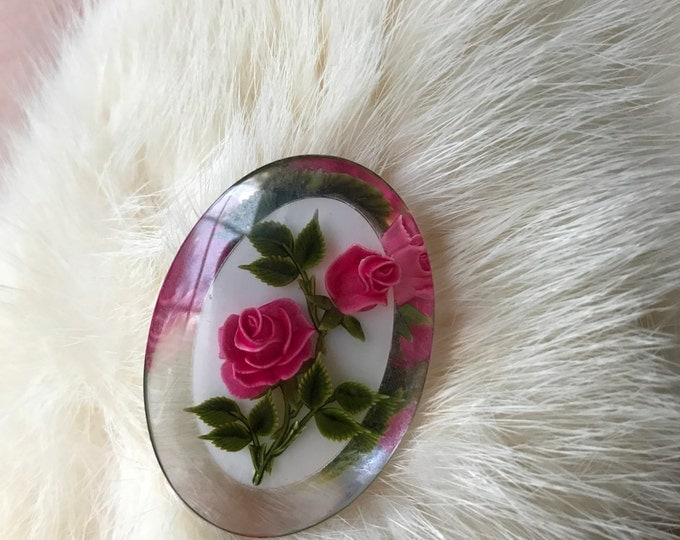 Vintage 60s Clear Lucite Rose Brooch