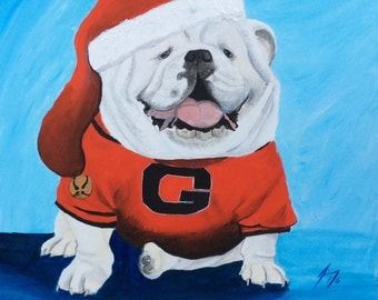 Santa Dawg - Large 20 X 20 Original Painting on Gallery Wrap Canvas