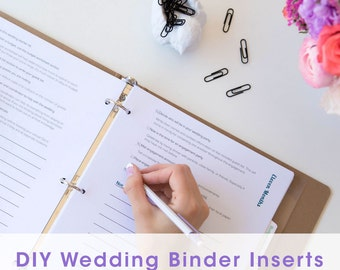 Wedding binder etsy for Diy wedding binder templates