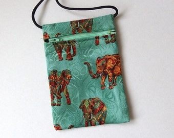 Pouch Zip Bag ELEPHANTS Green Fabric.  Great for walkers, markets, travel. Small fabric Purse. Cell Phone Pouch.  cross body pouch