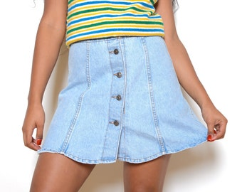 Vintage 80' Scalloped Button Up Denim Skirt Sz 30W