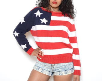 Vintage 90's Tommy Hilfiger American Flag Knit Sweater Sz M
