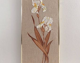 Vintage Iris Embroidered Wall Hanging