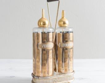 Vintage Culver Decanter Set Vodka Bourbon Liquor Bottles in Caddy 22K Glass Barware