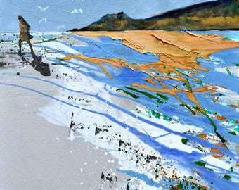 "Large wall ART print of painting woman walking on beach with gulls - ""Free Spirit"" by fine artist Melanie McDonald - WALL ART print"