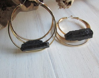 Black tourmaline gold earrings