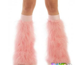 Baby Pink Rave Fluffies - Fluffy Leg Warmers - Furry Boot Covers - Long Pile Faux Fur Baby Pink Fluffies