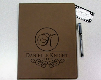 Personalized Leatherette Portfolio with Inside Quote - Dark Tan