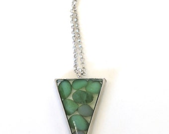 """Green Stones Pendant - lovely green glass """"stones"""" encased in resin with open back triangle shape bezel - Triangle pendant - Green Jewelry"""