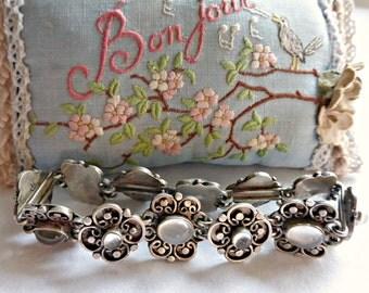 Vintage Ornate Arts & Craft Stering Silver Moonstone Link Bracelet