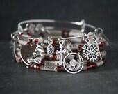 Outlander jewelry, Outlander bracelet, Outlander gift, scottish thistle charm bracelet, stacking set, book page bracelet, book bead bracelet